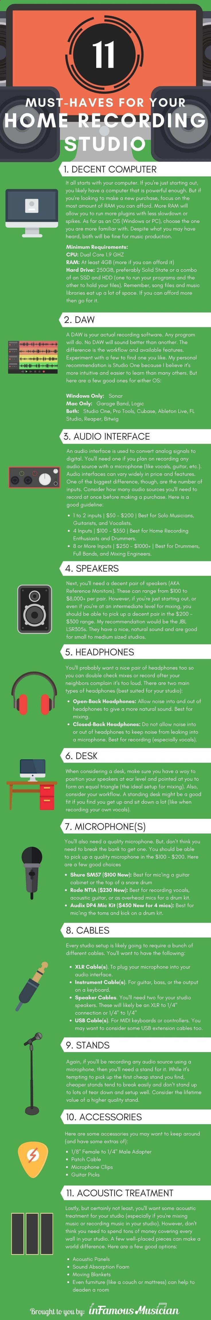 Home Recording Studio Equipment [Infographic] www.infamousmusic... #homerecording #homestudio