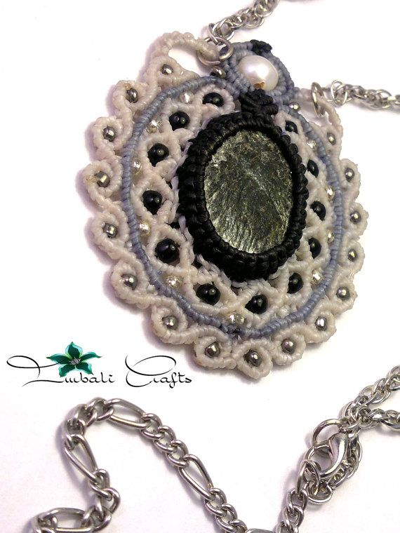 Handmade macrame necklace made with mica rock by ImbaliCrafts