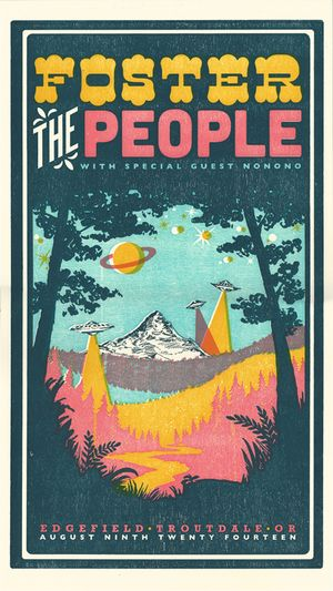 Foster the People, 4-color letterpress show poster collaboration with Adrienne Miller #willametteweek #mfnw
