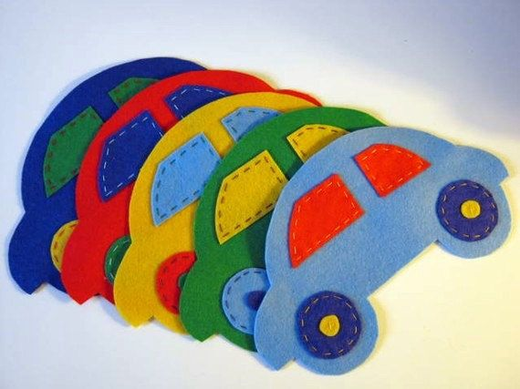 Felt car wall decals set of 5 by vickysfeltdecoration on Etsy