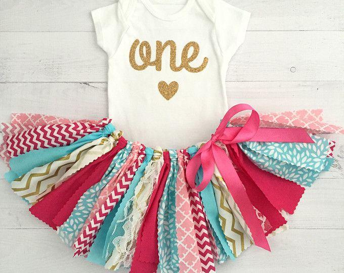 Traje de cumpleaños rosa, turquesa/azul y oro, ropa/tela primer cumpleaños bebé tutú chica/camisa con la edad