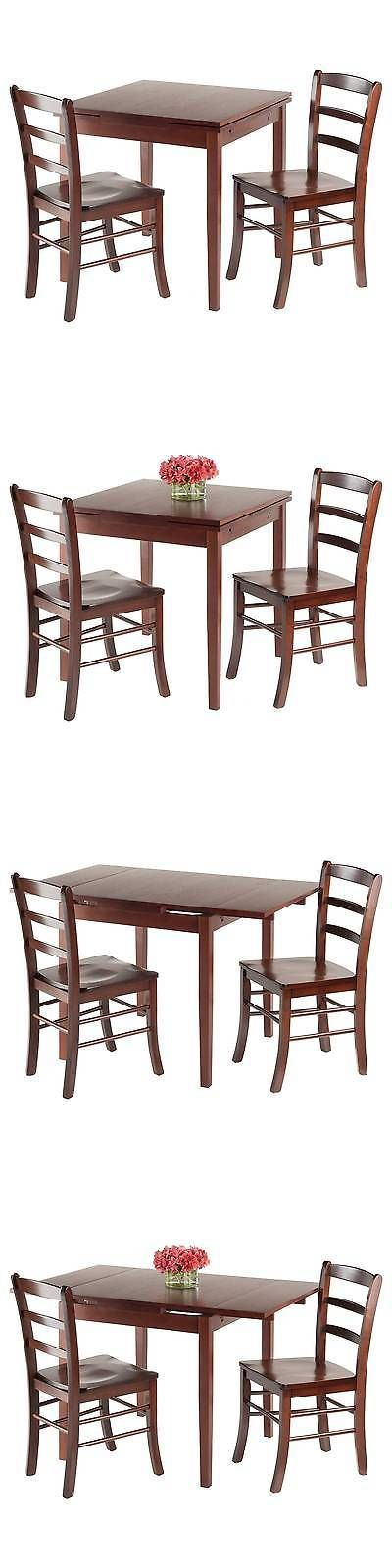 Sets 98478: 3 Piece Pulman Set Extension Table With Ladder Back Chairs Wood/Walnut - Winsome BUY IT NOW ONLY: $235.99