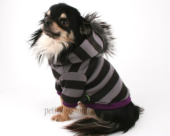 Dog clothes Grey and Black Stripe Mohawk dog by PetitDogApparel