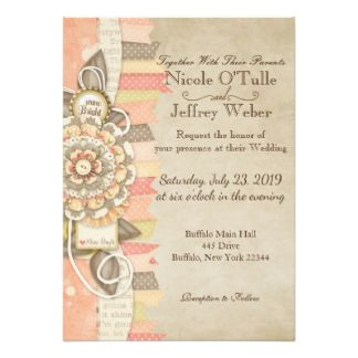 Rustic Summer Shabby Chic Wedding Invitation