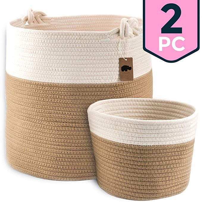 Amazon Com Little Hippo 2pc Large Cotton Rope Basket 15 X14 100 Natural Cotton Rope Basket Woven Storage Baske Blanket Basket Storage Baskets Toy Basket