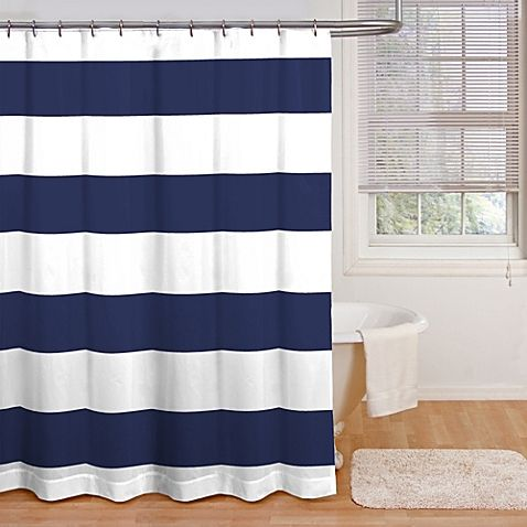 Refresh your bathroom with this bold cabana stripe shower curtain, in a classic, cool navy and white color combo.