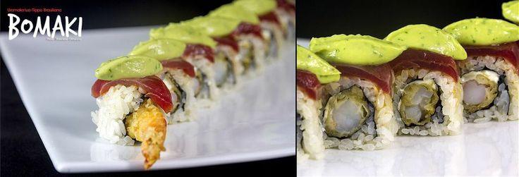 Uramaki ebi tuna and fresh avocado