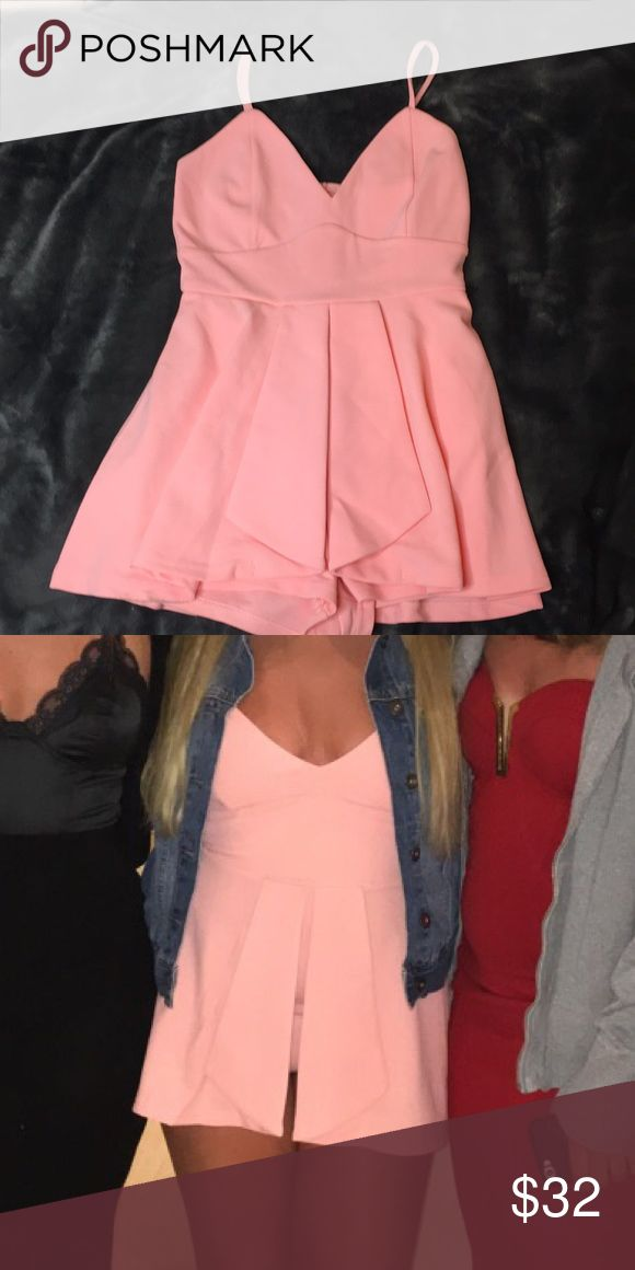 """Peach Dress Cute going out outfit. Shorts underneath so your bottom is covered! It is pretty short, fit perfect on me. I'm 5'0"""" and it's a size Small. Material is kinda thick but such a rich fabric. Worn once, and is in perfect condition!! *NO TRADES a'gaci Dresses Mini"""