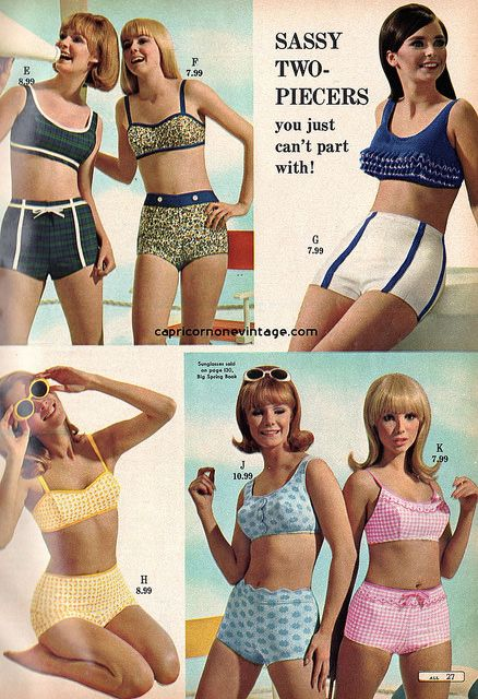 montgomery ward 1967 summer sale catalog. sassy two piece bikini swimsuits.