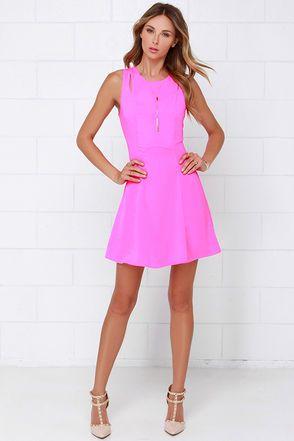 Haute Spot Neon Pink Dress at Lulus.com!
