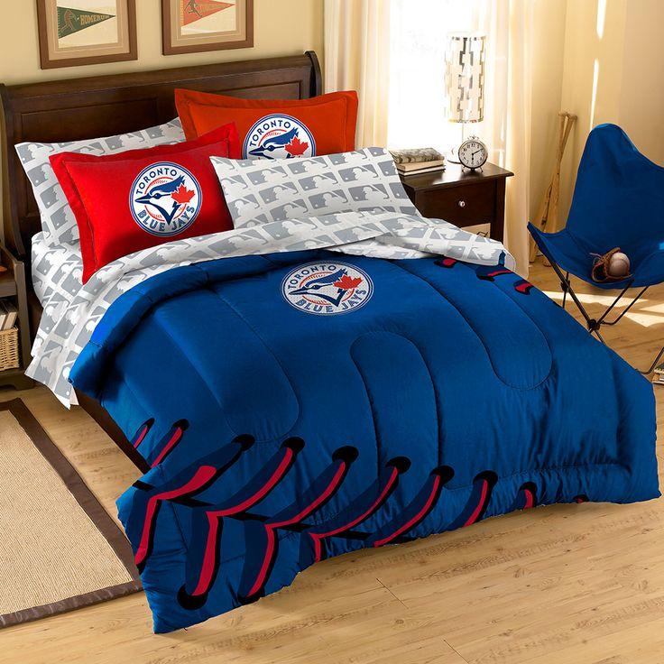 Toronto Blue Jays Bed in a Bag (Contrast Series) (Full) #torontobluejays #bluejays #torontobluejaysbedding #aleastchamps #bluejaysbeddingset
