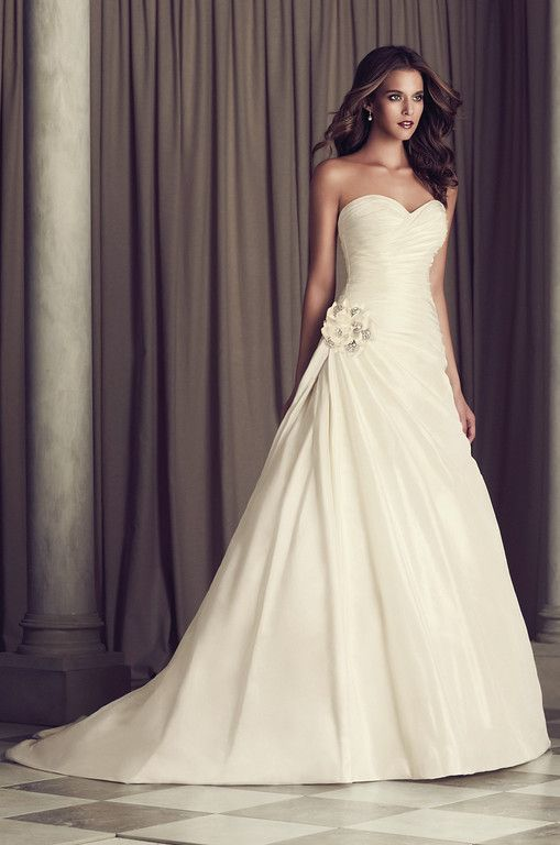 Fresh View Silk Dupioni Wedding Dress Style from Paloma Blanca Cross over ruched bodice with full side pleated draped skirt