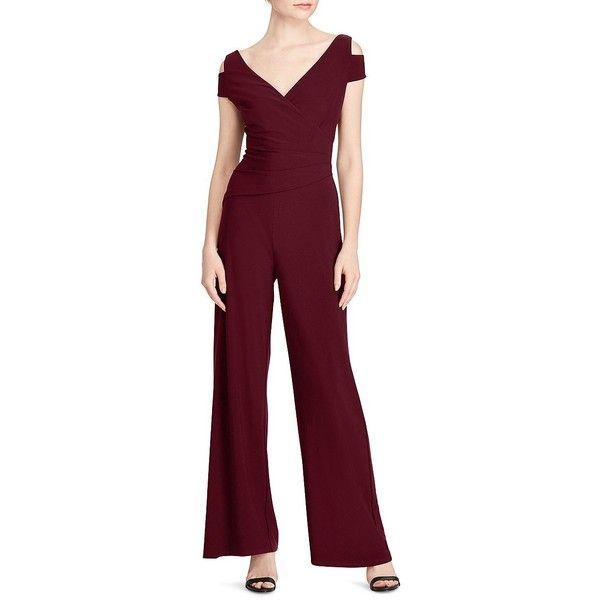 Lauren Ralph Lauren Women's Petite Cold Shoulder Jumpsuit ($112) ❤ liked on Polyvore featuring jumpsuits, red, red petite jumpsuit, purple jumpsuit, red jumpsuit, pleated jumpsuit and lauren ralph lauren