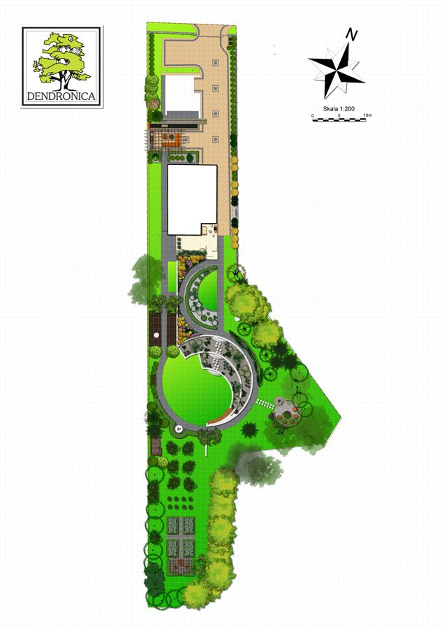 dendronica; contemporary garden; concept plan; landscape plan rendering;