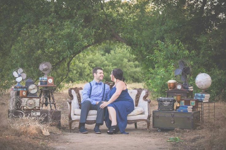 Styled Engagement Shoot By Rickety Swank Vintage Rentals -  Save the Date - Wedding Styling - Rustic Vintage - Sofa Country Style - Spring Mini Session - Wedding Rentals - Vintage Suit Cases -  Steam Punk - Vintage Metals - Old Antique Typewriter - Industrial Chic - Hipster - Vintage Photo Props by www.ricketyswank.com Image byhttp://www.kenzieannphotography.com/