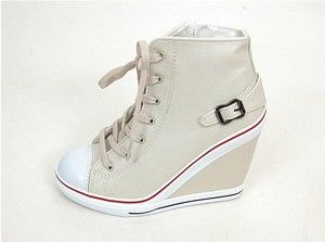 Women's Wedge High Heels High Top Sneakers Tennis Shoes Beige US 5.5~8