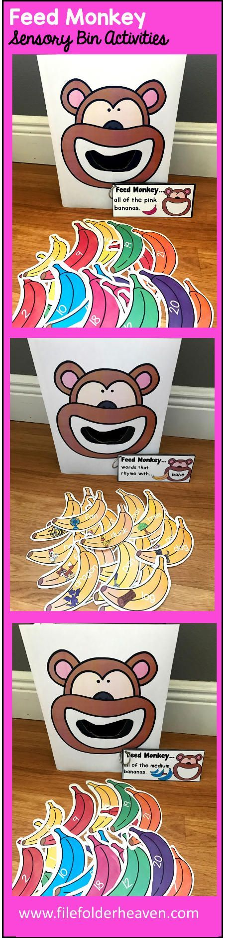 These Feed Monkey Activities are a GREAT additon to any Zoo or Rainforest Unit that you are working on in your classroom. There are so many ways to use this Feed Monkey Set.  I have left it very open ended so that you can target the skills you need to target in a small group setting. I have also included instruction cards for each set so that you can set the activity up as an independent center, and/or sensory bin activity. In the colors/sizes and numbers set, you can have students feed the…