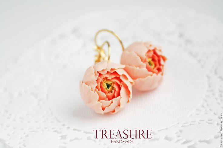 Купить Серьги с персиковыми цветами - оранжевый, персиковый, цветы, пионы, серьги с пионами, персиковые пионы