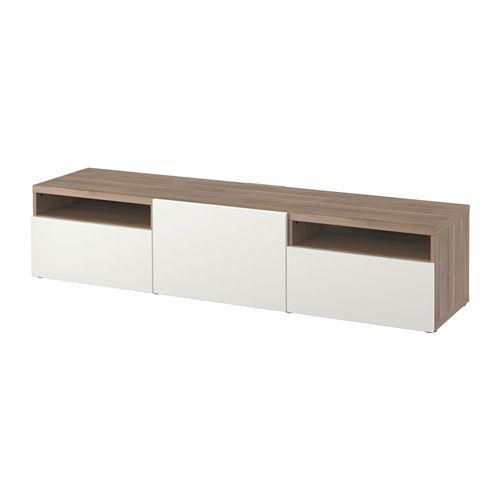 BESTÅ Tv-meubel - grijs gelazuurd walnootpatroon/Lappviken wit, laderail, druk-en-open - IKEA