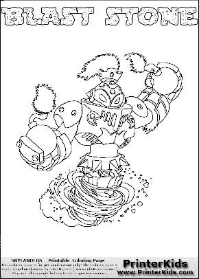 Colorable page for printing with the BLAST STONE Skylanders Swap Force figure. The Skylanders Swap Force character in this coloring page - BLAST STONE has the upper body part of the BLAST ZONE Skylanders Swap Force character and the lower part of the DOOM STONE Skylanders Swap Force character. Print and color this Skylanders Swap Force BLAST STONE page that is drawn by Loke Hansen (http://www.LokeHansen.com) based on the original artwork of the Skylanders characters.