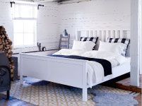 I like the patterned rug with this furniture.  Bedroom Furniture - Beds, Mattresses & Inspiration - IKEA