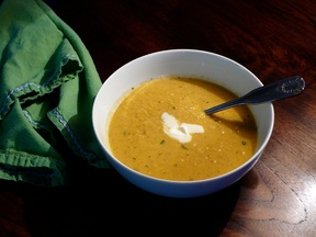 Roasted Cauliflower Soup with Chimichurri and Poblano Creme Fraiche ...