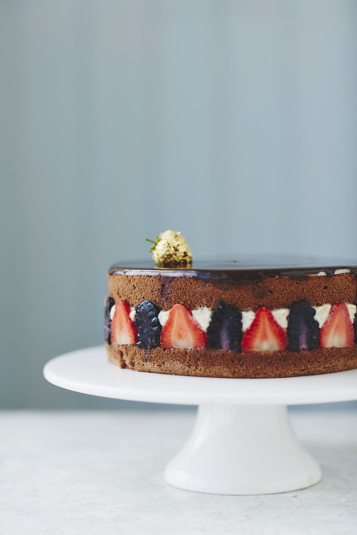 (c) Matt Russell Ingredients (serves 8/10)For the genoise sponge * 4 eggs * 130g golden caster sugar * 110g plain flour * 20g cocoa powder * 50g unsalted butter, melted and cooled slightly For the blackcurrant crème mousseline * 1 quantity Crème Pâtissière (recipe here), cooled and set * 2 tbsp crème de cassis liqueur * 175g unsalted butter, cubed and chilled slightly * 75g white chocolate, melted and cooled For the soaking syrup * 50g water * 50g golden caster sugar * 2 tbsp kirsch liqueur…