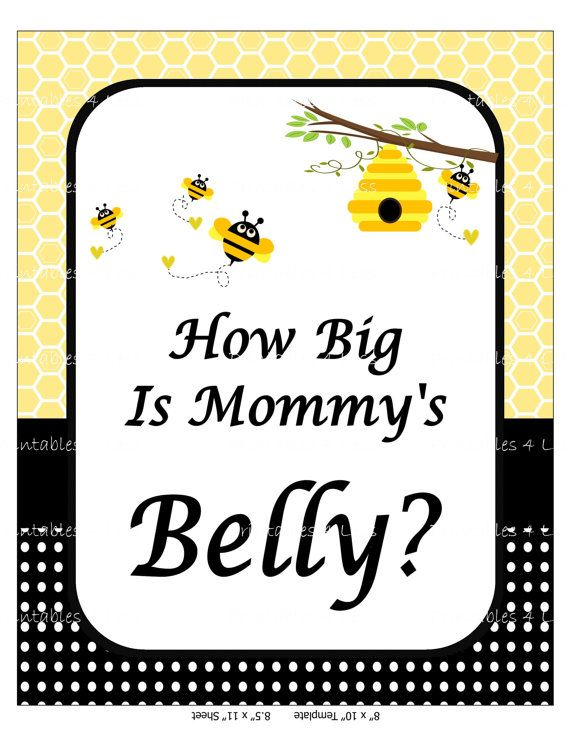 Bumble Bee Belly Game Mommys Belly Baby Shower by Printables4Less               …