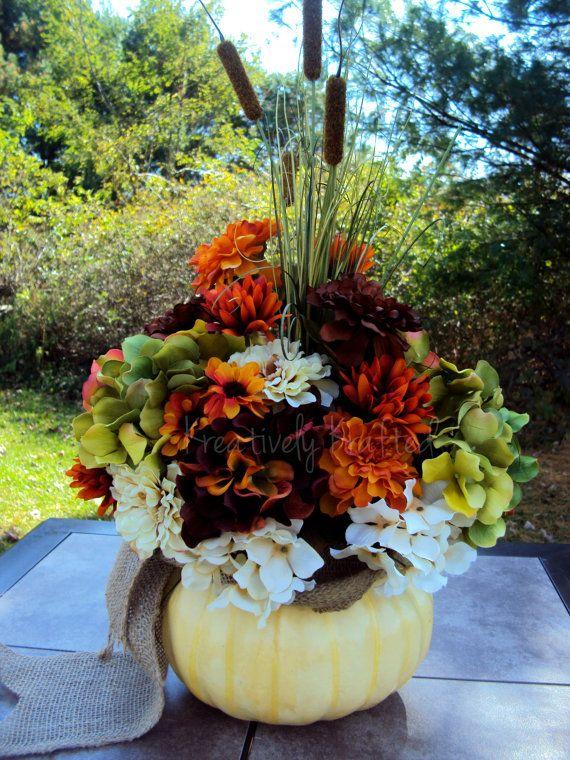 Fall White pumpkin Autumn Thanksgiving Flower Arrangement Table Centerpiece by KreativelyKrafted