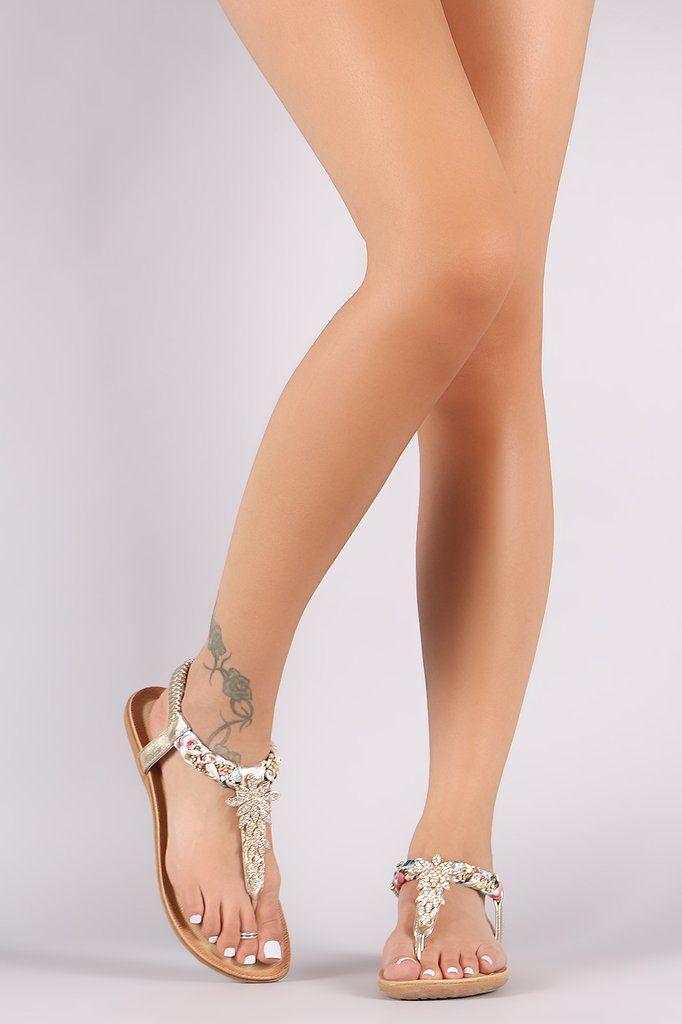 Liliana Rhinestone Leaves Accent T-Strap Flat Sandals