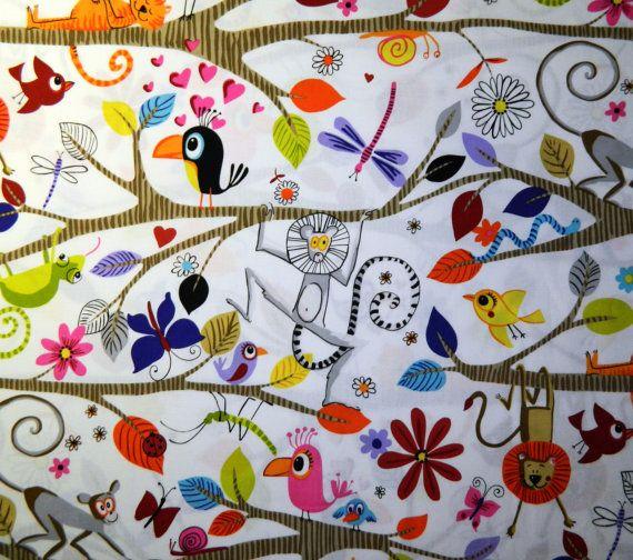 Alexander henry fabric monkey bizness just hanging for Baby monkey fabric prints