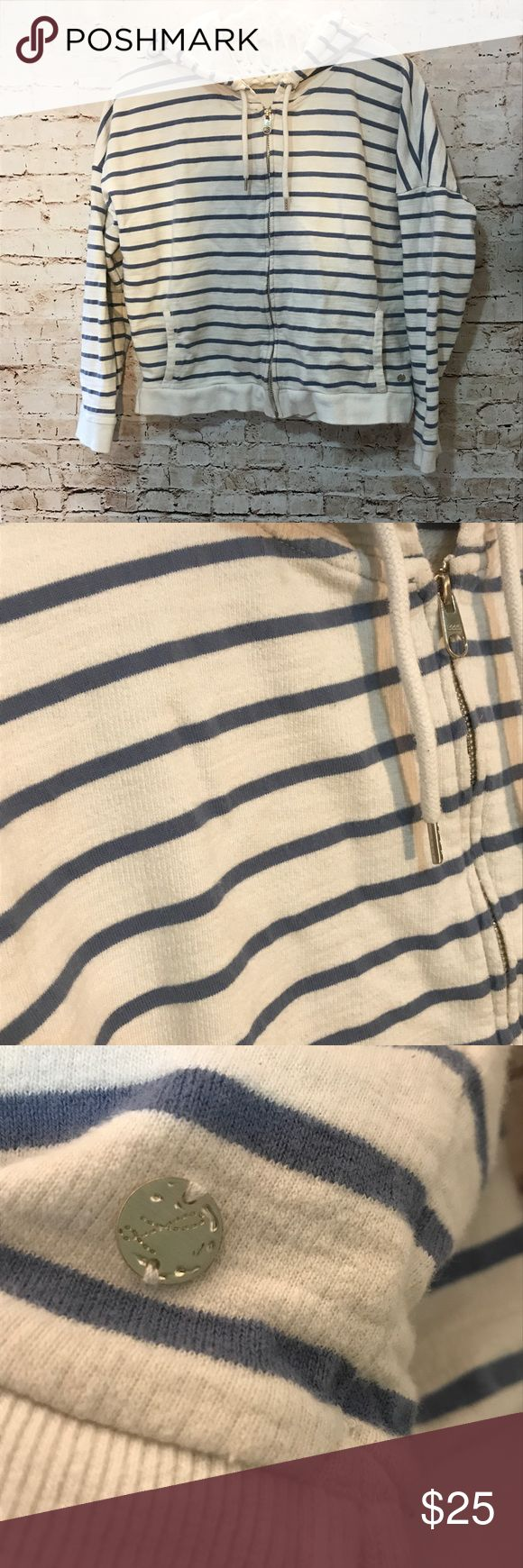 LOGG Label of Greater Good Zip up hoodie Size medium Chambray blue color and white striped zip up LOGG hoodie. Excellent condition only worn a handful of times! l.o.g.g. for h&m Tops Sweatshirts & Hoodies