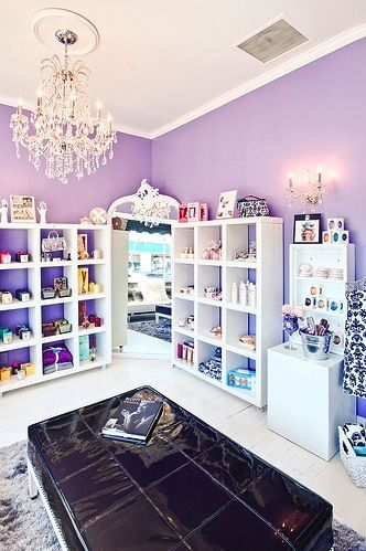 LOVE the purple walls white accent. Such a clean look