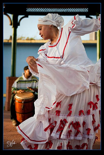 Puerto Rican Bomba, a traditional dance part of our folklore. It was introduced to our culture by African slaves during the Spanish Colonialism years.