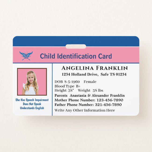 Id Identification Card Boy Girl Child Photo Custom Badge Zazzle Com Custom Badges Kids Photos Custom Holiday Card