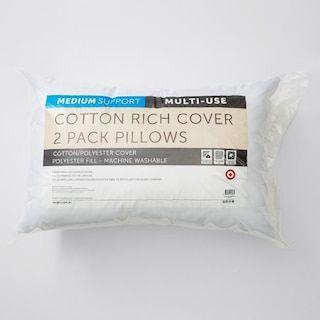 Cotton Rich Cover 2 Pack Pillows