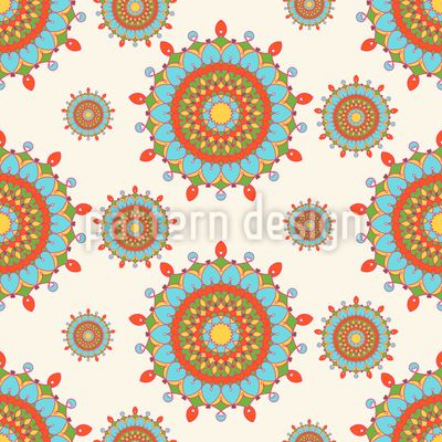 Retro Mandala Circus Seamless Vector Pattern Seamless Vector Pattern by Elena Alimpieva at patterndesigns.com