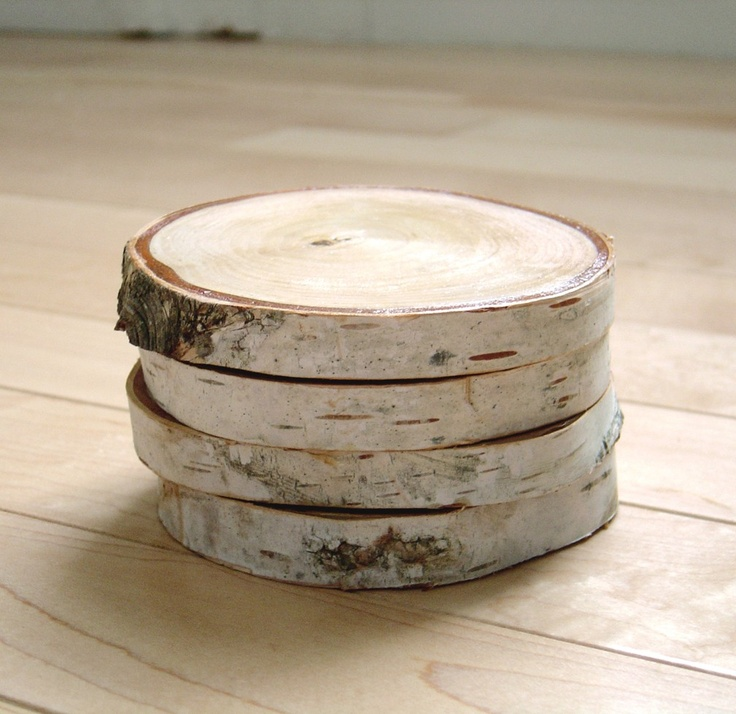 White birch wood coaster set of wedding favors and