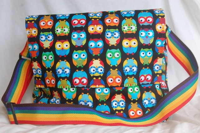 Owl print messenger style bag, designed as a baby change bag. £40.00