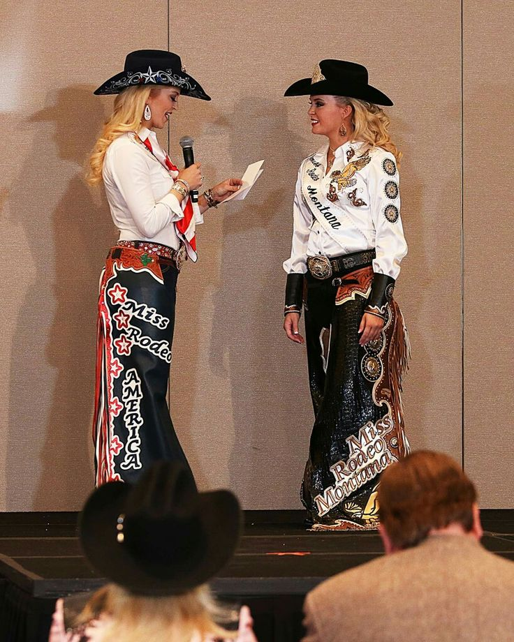 Miss Rodeo Montana chaps outfit at the Miss Rodeo America Pageant. Chaps made by Jeff at Grizzly Saddlery in Great Falls, MT. Rodeo queen wardrobe