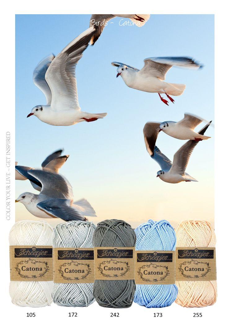 Kleurinspiratie - birds. Mooie tinten grijs, een beetje blauw en zacht oranje. Catona van Scheepjeswol