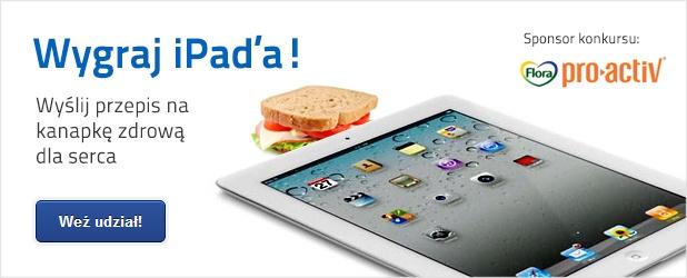 Sport i nowe technologie idą coraz cześciej w parze. Dlatego My – (Ruszamysie.pl) wspólnie  Flora Pro.Activ* organizujemy konkurs, w którym do wygrania będzie iPad2! http://blog.ruszamysie.pl/konkurs-na-kanapke-zdrowa-dla-serca-floraproactiv/