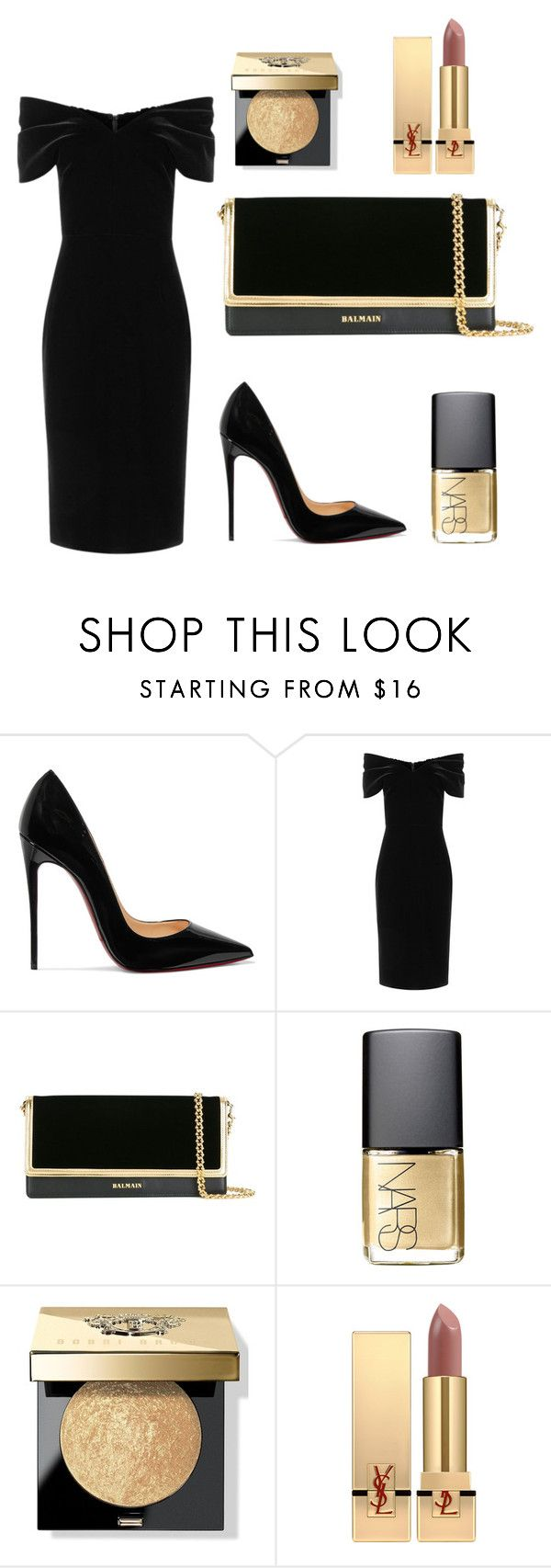 """Untitled #1"" by filippa-elvira-engsig ❤ liked on Polyvore featuring Christian Louboutin, Emilio De La Morena, Balmain, NARS Cosmetics, Bobbi Brown Cosmetics and Yves Saint Laurent"