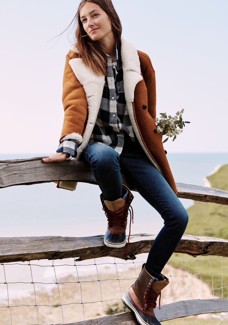 madewell home-for-the-holidays outfit idea: shearling car coat