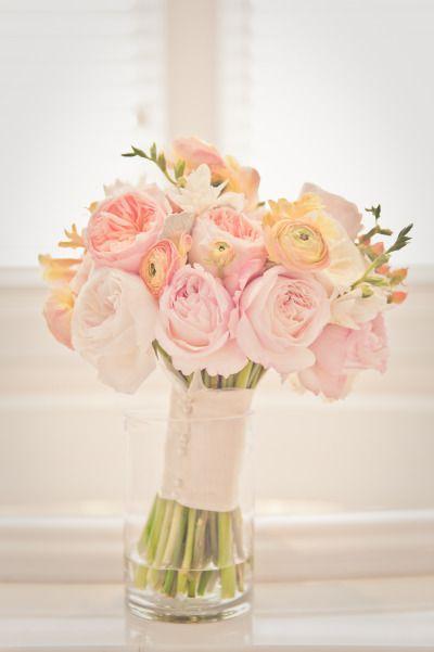 Peony and ranunculus bouquet: http://www.stylemepretty.com/2015/01/27/rustic-summer-wedding-by-the-sea/ | Photography: Wildflower Studio - http://www.wildflowerstudiophoto.com/