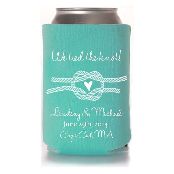 Wedding Koozies - We Tied the Knot Personalized Wedding Favors, Destination Wedding Favors for Guests, Rustic Wedding Decor, DIY Wedding Ideas, Fall Wedding