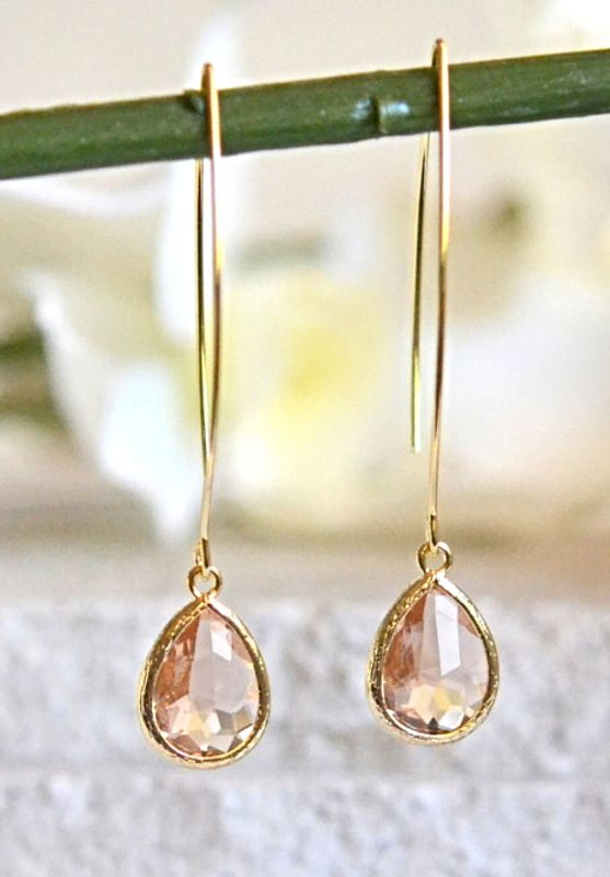 Simple Champagne Drop Earrings. Dangle Earrings. Long Drop Earrings. Simple Earrings. Bridesmaids Gift. Champagne Wedding Jewelry. Bridal.