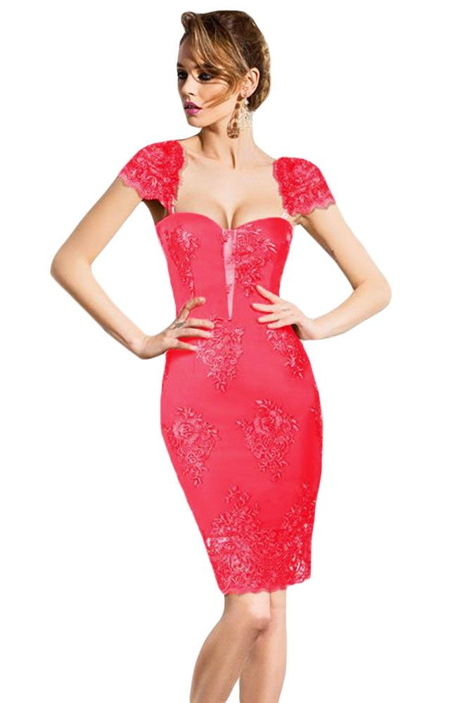 Chicloth Pink Embroidered Cap Sleeves Bodycon Party Dress