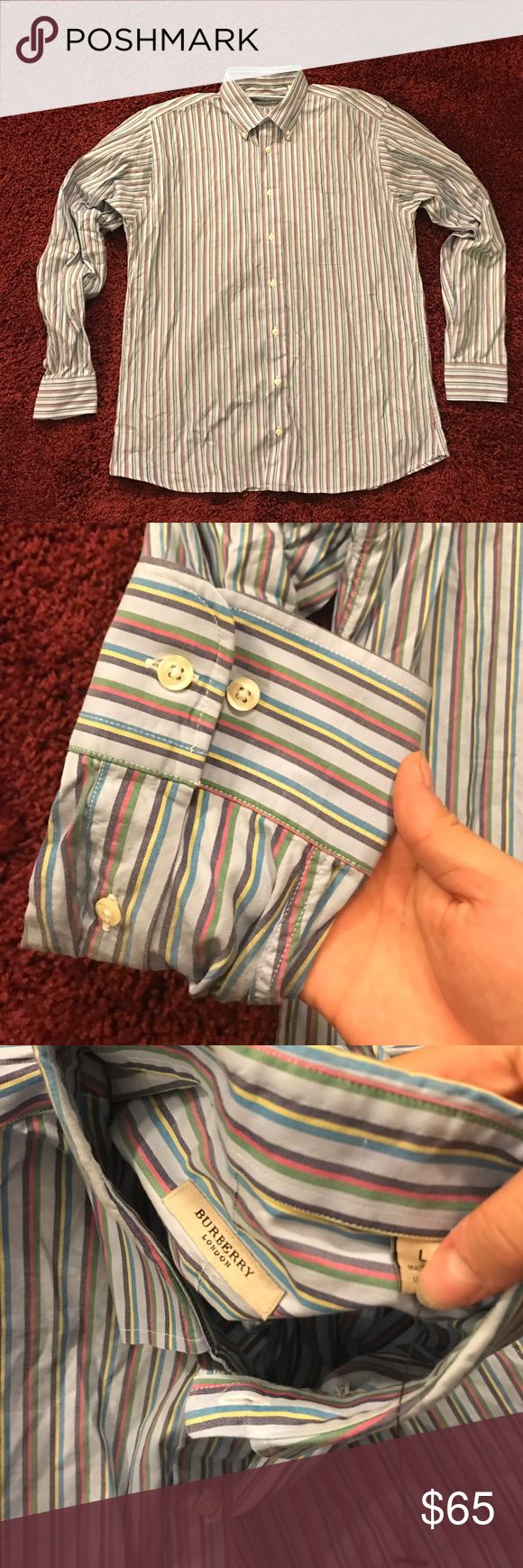 •SALE• NWOT AUTH BURBERRY $350 RETAIL BUTTON DOWN• ••NWOT MENS DESIGNER AUTHENTIC FANCY DRESS SHIRT- SIZE LARGE•• PURCHASED $350 PLUS TAX FROM NORDSTROM FOR MY HUSBAND BUT HE NEVER ENDED UP WEARING IT, ITS WRINKLED FROM STORAGE AND THAT IS REFLECTED IN PRICE. AWESOME COLORS ADD A POP TO A MANS WARDROBE, IT STILL HAS THE TAG PLASTIC HOLDER. •••PRICED TO SELL SAME DAY, LOWEST YOULL EVER FIND FOR AN AUTHENTIC ONE IN FLAWLESS CONDITION, NO TRADES OR HOLDS••• Burberry Shirts Dress Shirts