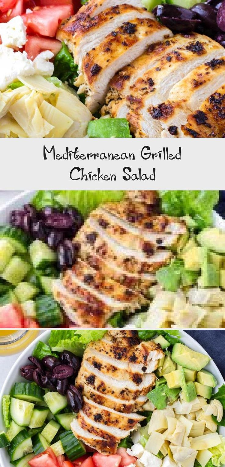 The best Mediterranean Chicken Salad! This Mediterranean grilled chicken salad is made with juicy a flavorful grilled chicken breast, complete with a mediterranean red wine dressing. Tossed feta, olives, avocado, and artichokes #cookingformysoul #mediterraneansalad #mediterraneandiet #grilledchickensalad #grilledchicken #mediterraneangrilledchicken   cookingformysoul.com #Christmassaladrecipes #Paleosaladrecipes #Mediterraneansaladrecipes #Freshsaladrecipes #saladrecipesNoMeat
